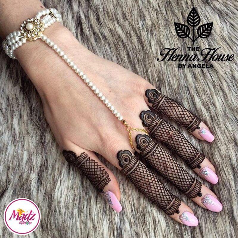 Gold Hand Piece , Hand Harness - Hennabyang Pearl Chain Bracelet - Madz Fashionz UK