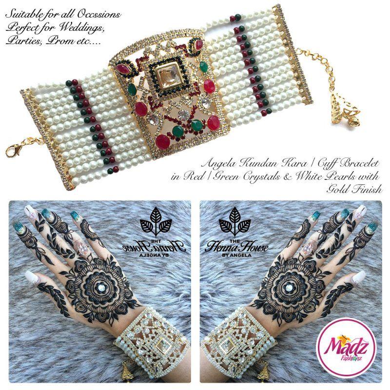 Madz Fashionz UK: Hennabyang Crystallised Cuff Bracelet Kara Red Green White Gold