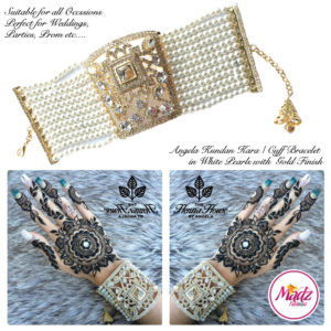 Madz Fashionz UK: Hennabyang Crystallised Cuff Bracelet Kara Gold White
