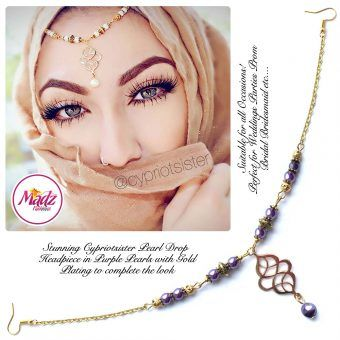 Madz Fashionz UK: Maryam Cypriotsister Pearl Drop Headpiece Gold Purple