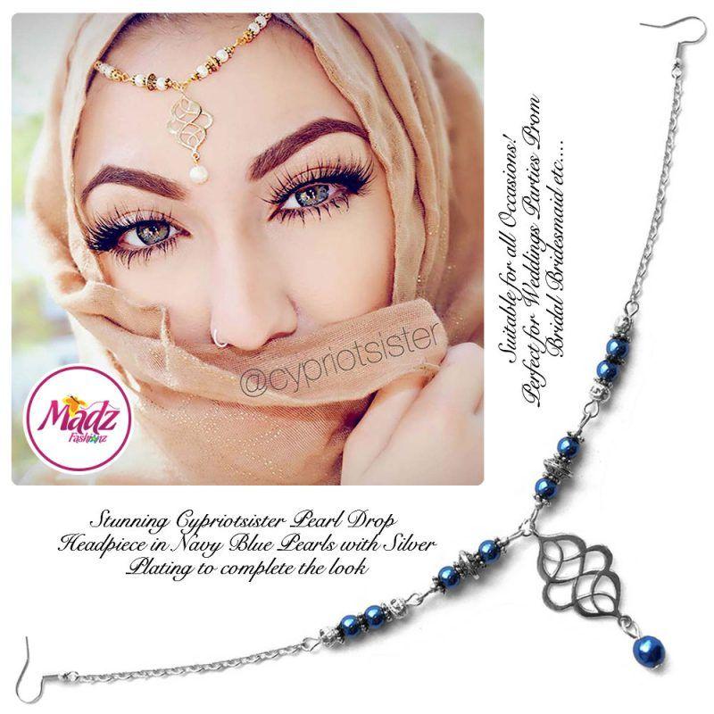 Madz Fashionz UK: Maryam Cypriotsister Pearl Drop Headpiece Silver Navy Blue