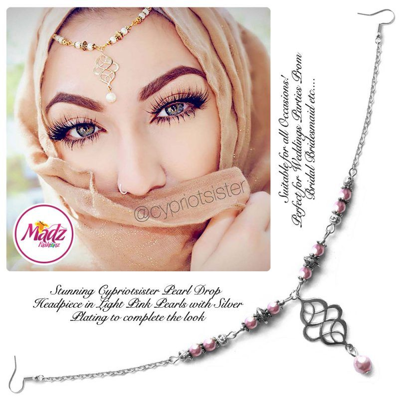 Madz Fashionz UK: Maryam Cypriotsister Pearl Drop Headpiece Silver Light Pink