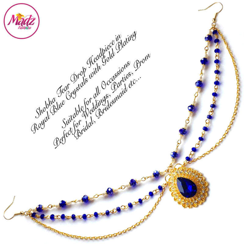 Madz Fashionz UK: Shobha Pearl Drop Matha Patti Headpiece Gold Royal Blue