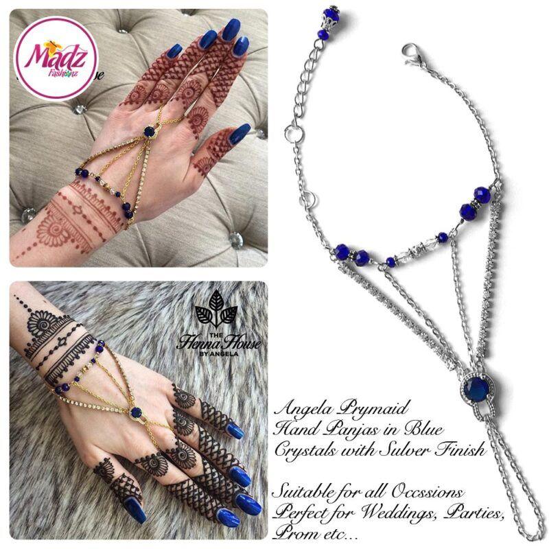 Hennabyang Silver Royal Blue Panjas Hand Jewellery Cuff Bracelet - MadZ FashionZ UK