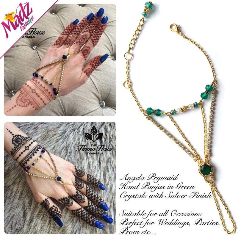Hennabyang Gold Green Panjas Hand Jewellery Cuff Bracelet - MadZ FashionZ UK