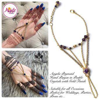 Hennabyang Gold Purple Panjas Hand Jewellery Cuff Bracelet - MadZ FashionZ UK