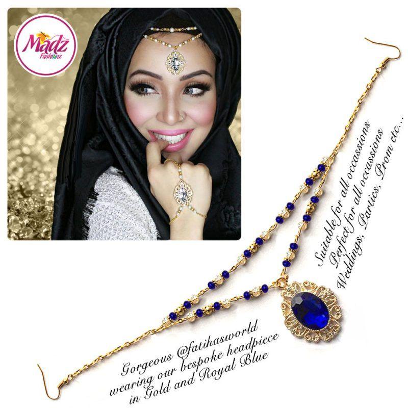 Madz Fashionz UK Fatiha World Chandelier Headpiece Matha Patti Gold and Royal Blue