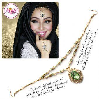 Madz Fashionz UK Fatiha World Chandelier Headpiece Matha Patti Gold and Light Green