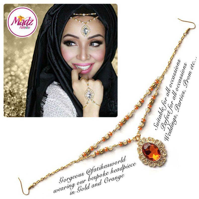 Madz Fashionz UK Fatiha World Chandelier Headpiece Matha Patti Gold and Orange