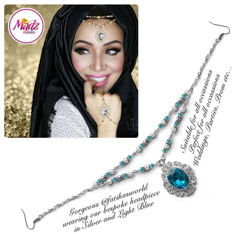 Madz Fashionz UK Fatiha World Chandelier Headpiece Matha Patti Silver and Light Blue
