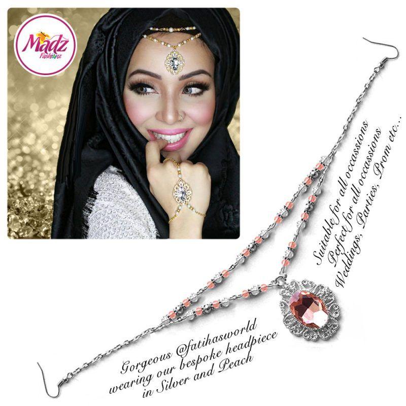 Madz Fashionz UK Fatiha World Chandelier Headpiece Matha Patti Silver and Peach