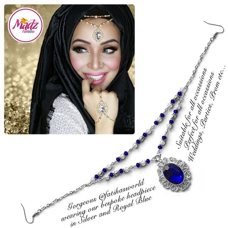 Madz Fashionz UK Fatiha World Chandelier Headpiece Matha Patti Silver and Royal Blue