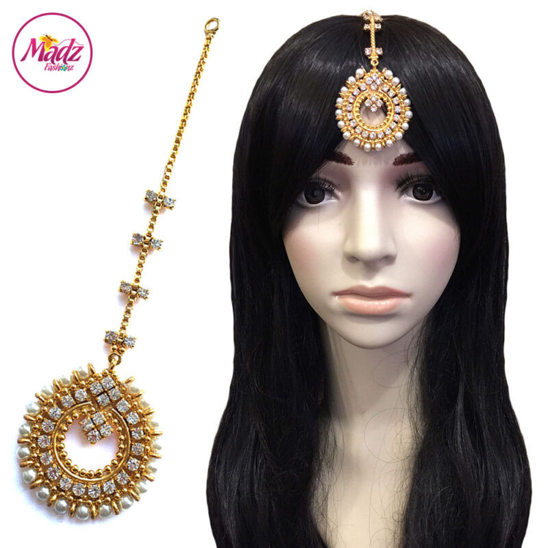 Madz Fashionz UK: Zohra Bridal Pearled Maang Tikka Gold White