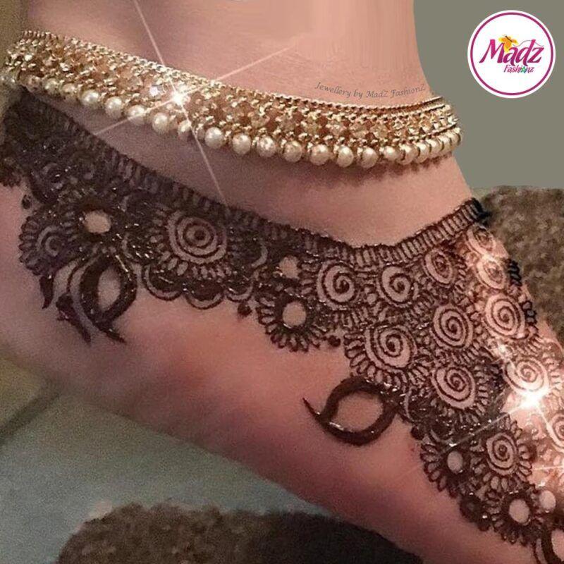 Madz Fashionz UK: Pearled Payal Anklet Chain mehndi_artz Gold Silver White