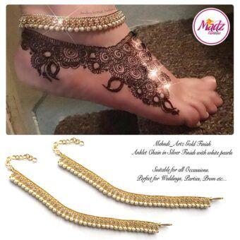 Madz Fashionz UK: Pearled Payal Anklet Chain mehndi_artz Gold White
