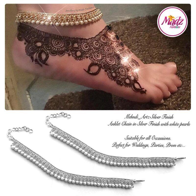Madz Fashionz UK: Pearled Payal Anklet Chain mehndi_artz Silver White