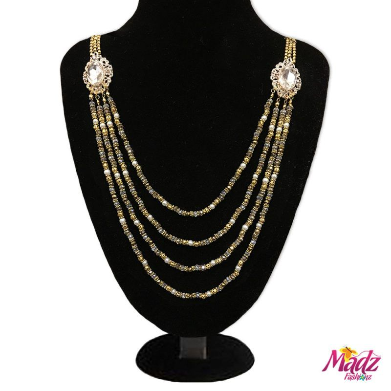 Madz Fashionz UK: Madhuri Chandelier Gold White Long Bridal Necklace