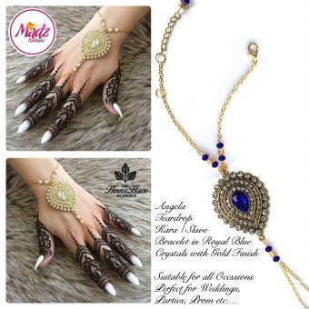 Madz Fashionz UK: Hennabyang Bespoke Kundan Handchain Slave Bracelet Gold and Royal Blue