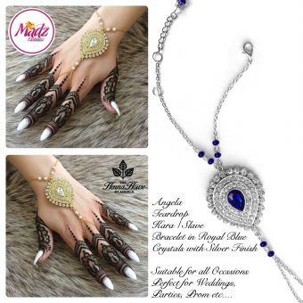 Madz Fashionz UK: Hennabyang Bespoke Kundan Handchain Slave Bracelet Silver and Royal Blue