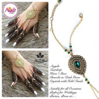 Madz Fashionz UK: Hennabyang Bespoke Kundan Handchain Slave Bracelet Gold and Dark Green