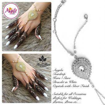 Madz Fashionz UK: Hennabyang Bespoke Kundan Handchain Slave Bracelet Silver and White