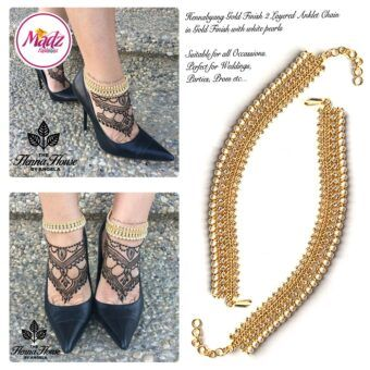 Madz Fashionz UK: Pearled Payal Anklet Chain Hennabyang Gold and White 2