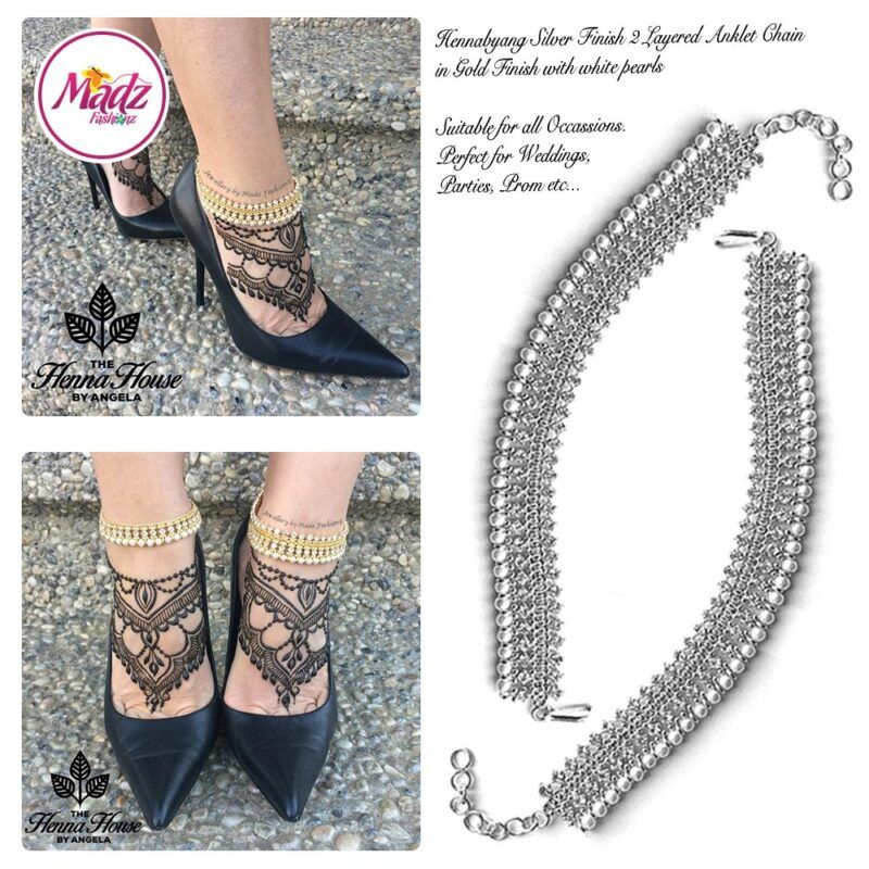Madz Fashionz UK: Pearled Payal Anklet Chain Hennabyang Silver and White 2
