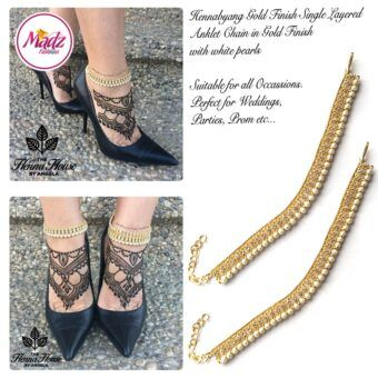 Madz Fashionz UK Pearled Payal Anklet Chain Hennabyang Gold and White