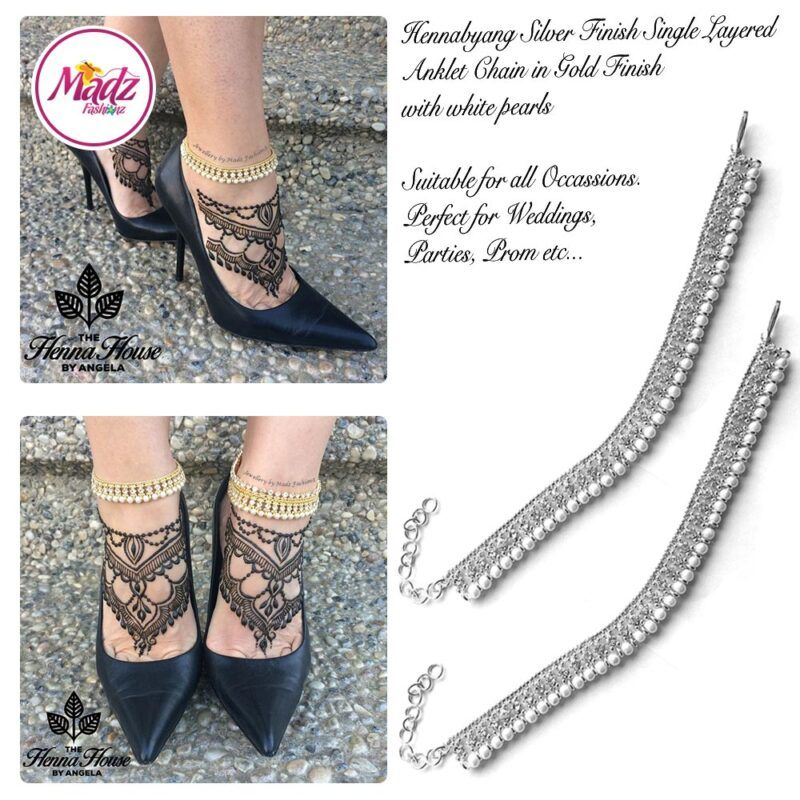 Madz Fashionz UK Pearled Payal Anklet Chain Hennabyang Silver and White