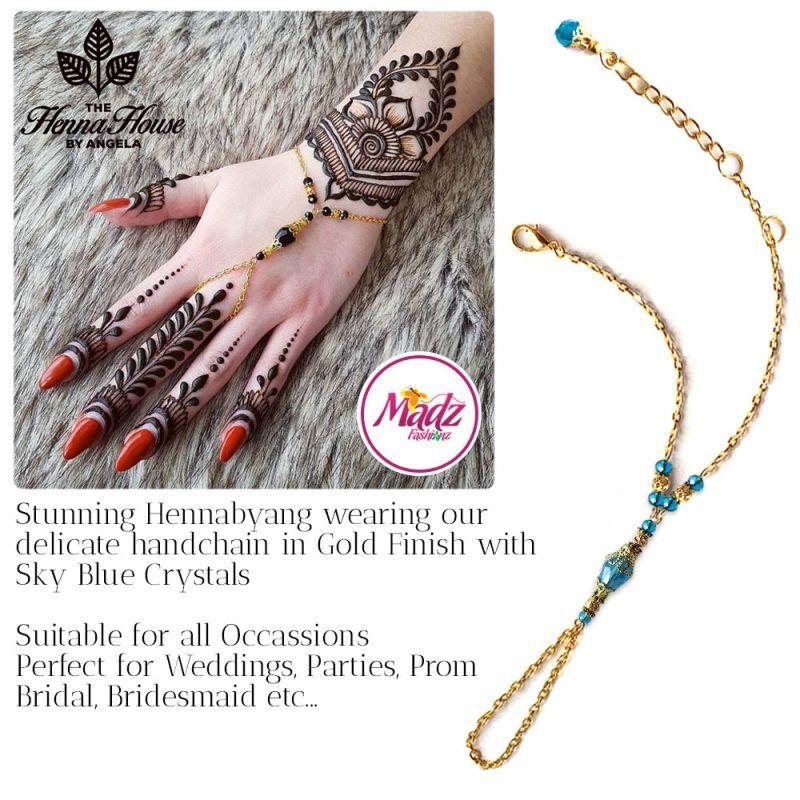 Madz Fashionz UK: Hennabyang Bespoke Crystal Slave Bracelet Handchain Delicate Gold Sky Blue