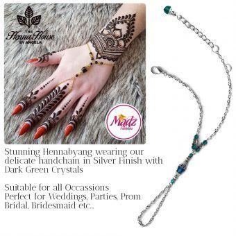 Madz Fashionz UK: Hennabyang Bespoke Crystal Slave Bracelet Handchain Delicate Silver Dark Green