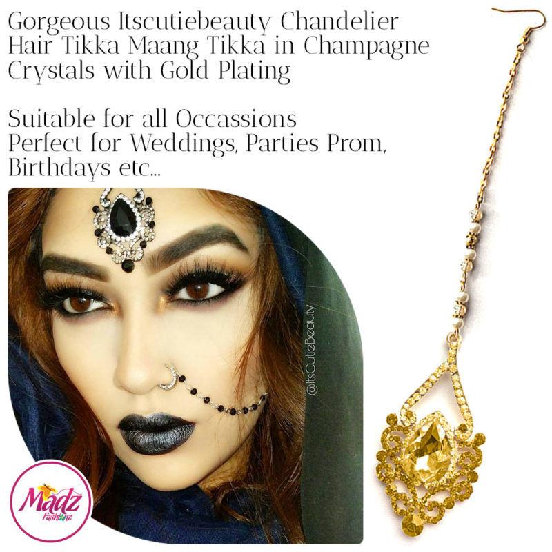 Madz Fashionz UK: ItsCutieBeauty Exquisite Nawab Bridal Maang Tikka Headpiece Gold Champagne