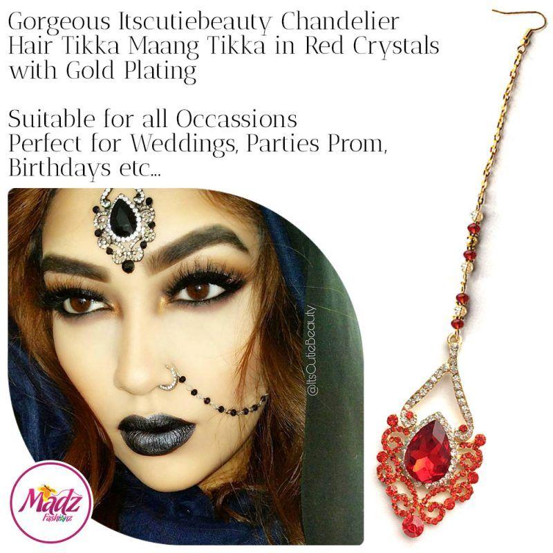 Madz Fashionz UK: ItsCutieBeauty Exquisite Nawab Bridal Maang Tikka Headpiece Gold Red