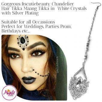 Madz Fashionz UK: ItsCutieBeauty Exquisite Nawab Bridal Maang Tikka Headpiece Silver White