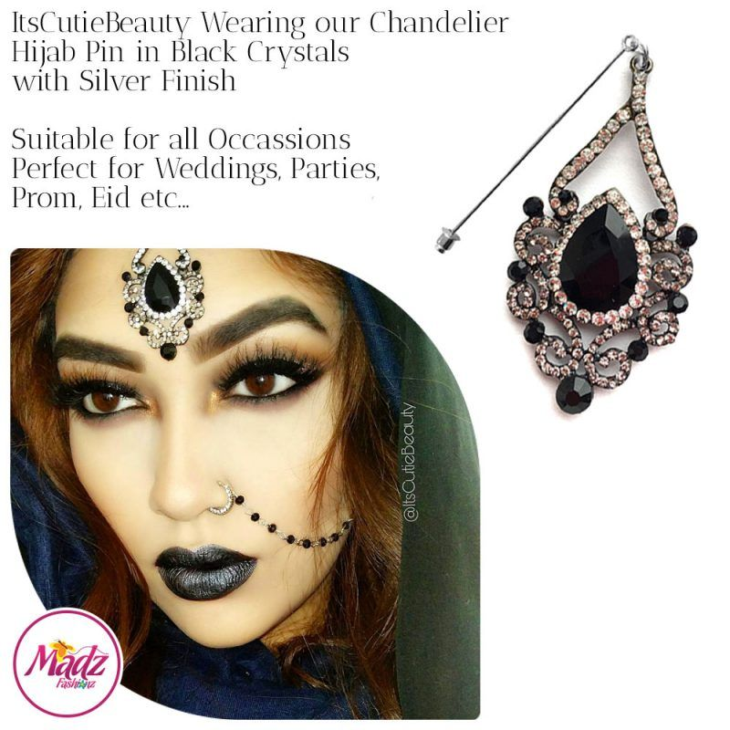 Madz Fashionz UK: ItsCutieBeauty Exquisite Nawab Bridal Hijab Pins, Hijab Jewels Silver Black