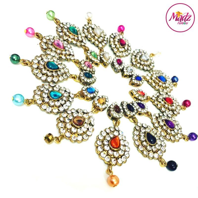 Madz Fashionz UK: Eleineofficial Exquisite Nawab Matha Patti Nath Set Gold Pendants colours available