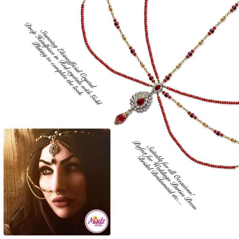 Madz Fashionz UK: Eleineofficial Exquisite Nawab Matha Patti Nath Set Gold Red Headpiece