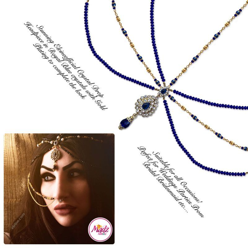 Madz Fashionz UK: Eleineofficial Exquisite Nawab Matha Patti Nath Set Gold Royal Blue Headpiece