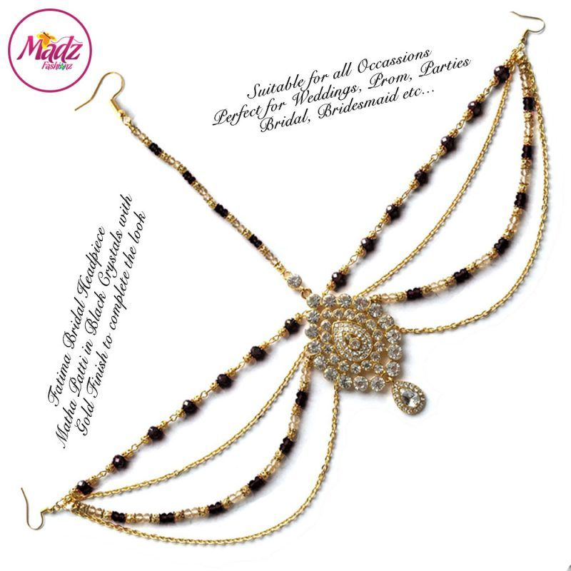 Madz Fashionz UK: Fatima Traditional Black Bridal Chandelier Matha Patti