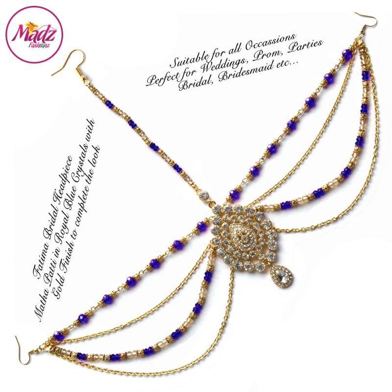 Madz Fashionz UK: Fatima Traditional Royal Blue Bridal Chandelier Matha Patti