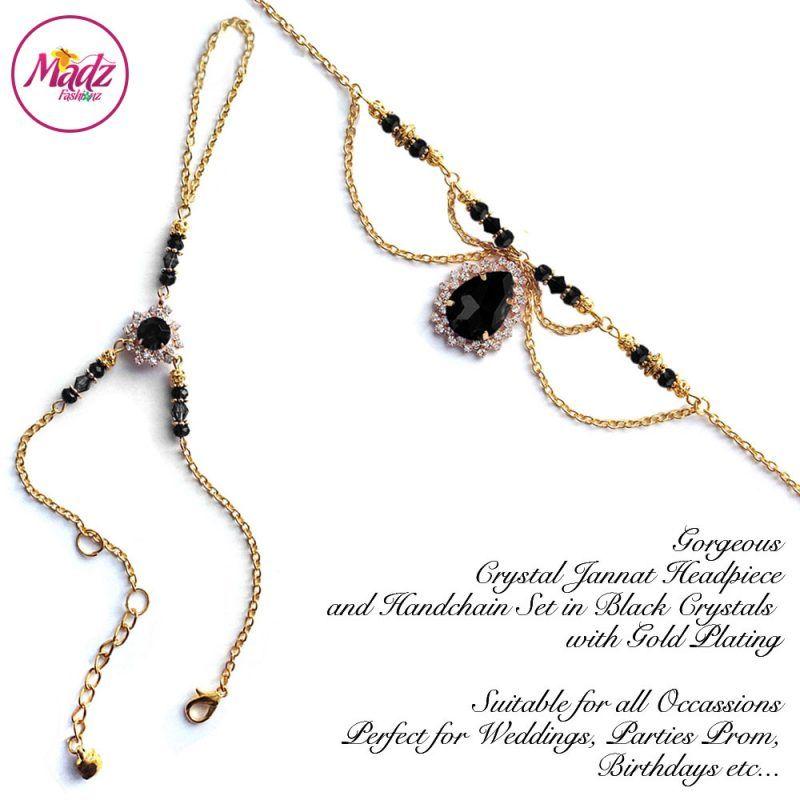 Madz Fashionz UK: Jannat Delicate Black Crystal Headpiece Handchain Set