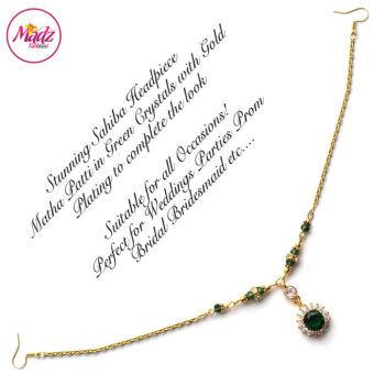 Madz Fashionz UK: Sahiba Crystal Headpiece Matha Patti Maang Tikka Gold Green