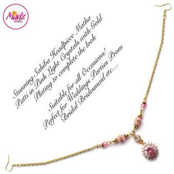 Madz Fashionz UK: Sahiba Crystal Headpiece Matha Patti Maang Tikka Gold Light Pink