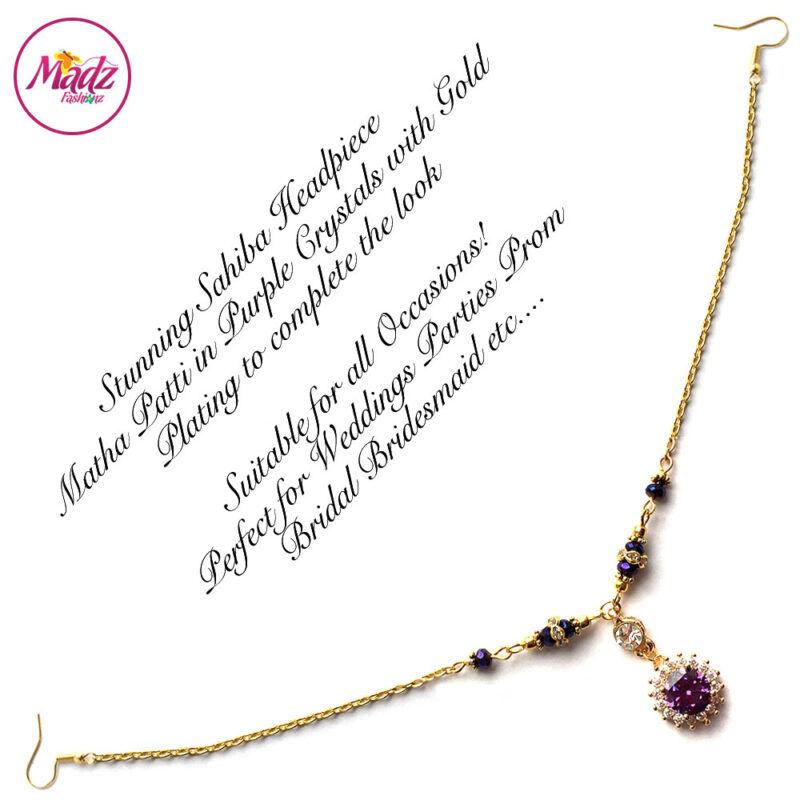 Madz Fashionz UK: Sahiba Crystal Headpiece Matha Patti Maang Tikka Gold Purple