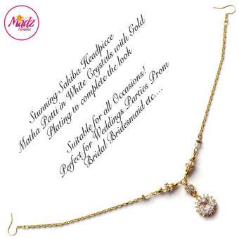 Madz Fashionz UK: Sahiba Crystal Headpiece Matha Patti Maang Tikka Gold White