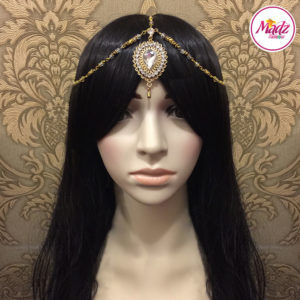 Madz Fashionz UK: Aairah Bespoke Matha Patti Headpiece Gold White Hair Tikka 2