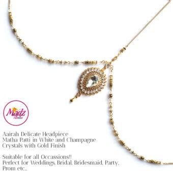 Madz Fashionz UK: Aairah Bespoke Matha Patti Headpiece Gold White Hair Tikka