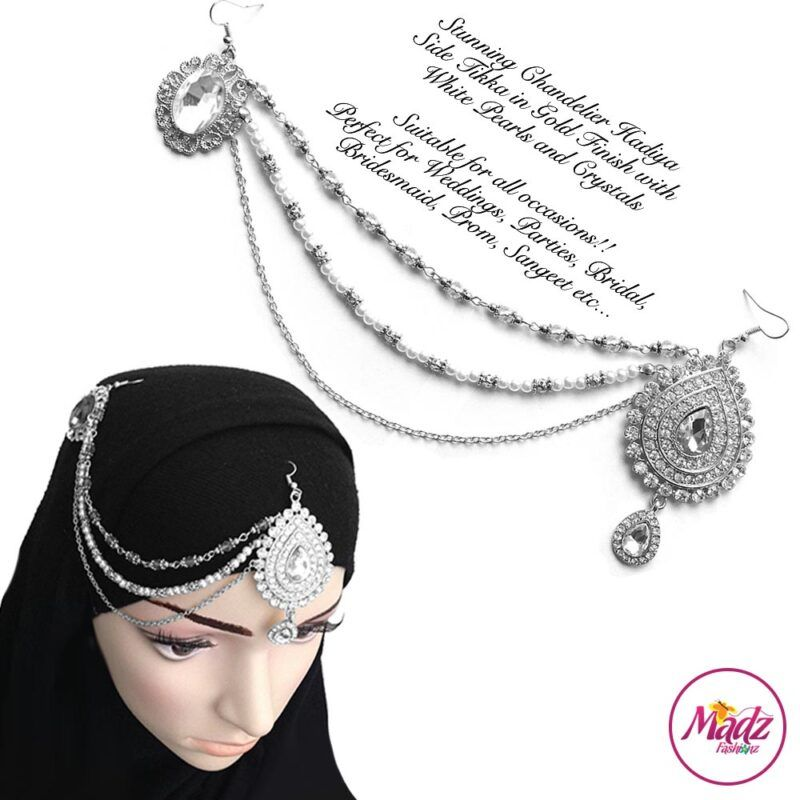 Madz Fashionz UK: Hadiya Silver White Pearl Bridal Side Tikka Headpiece