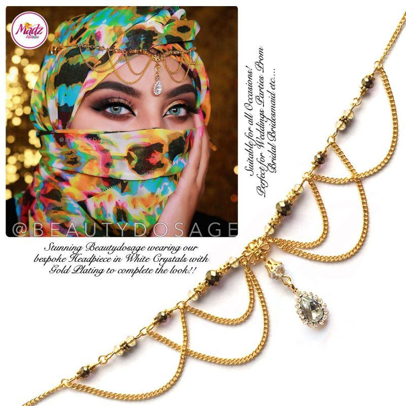 Madz Fashionz UK: Beautydosage Bespoke Crystal Drop Matha Patti Headpiece Gold and White