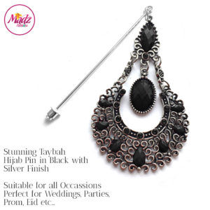 Madz Fashionz UK: Taybah Hijab Pin Hijab Jewels Stick Pins Silver Black